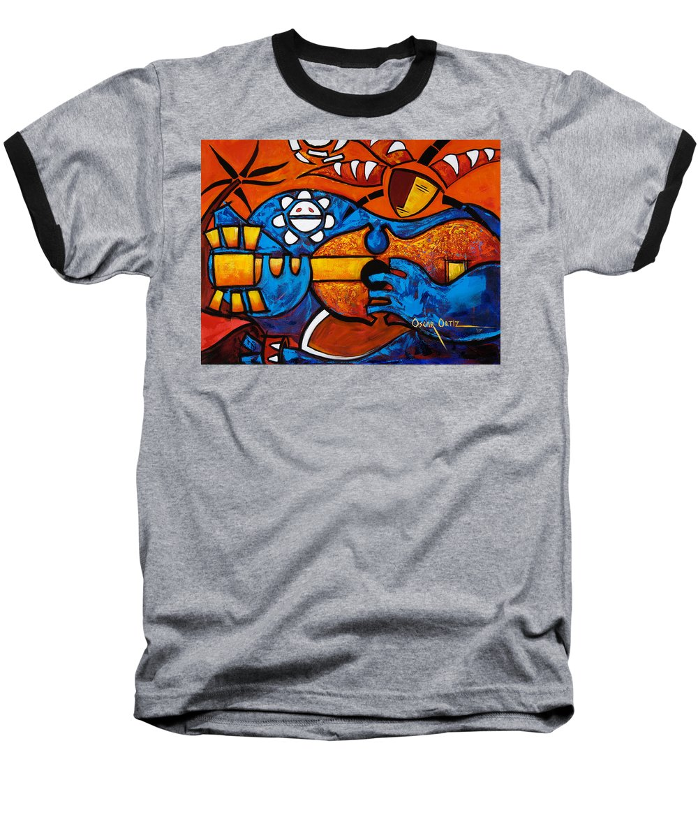 Puerto Rico Baseball T-Shirt featuring the painting Cuatro En Grande by Oscar Ortiz