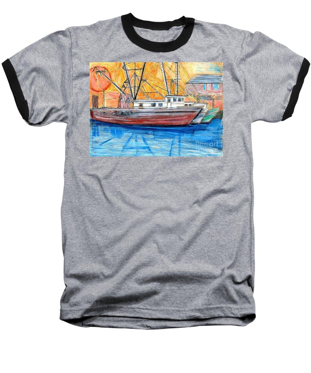 Fishing Baseball T-Shirt featuring the drawing Fishing Trawler by Eric Schiabor