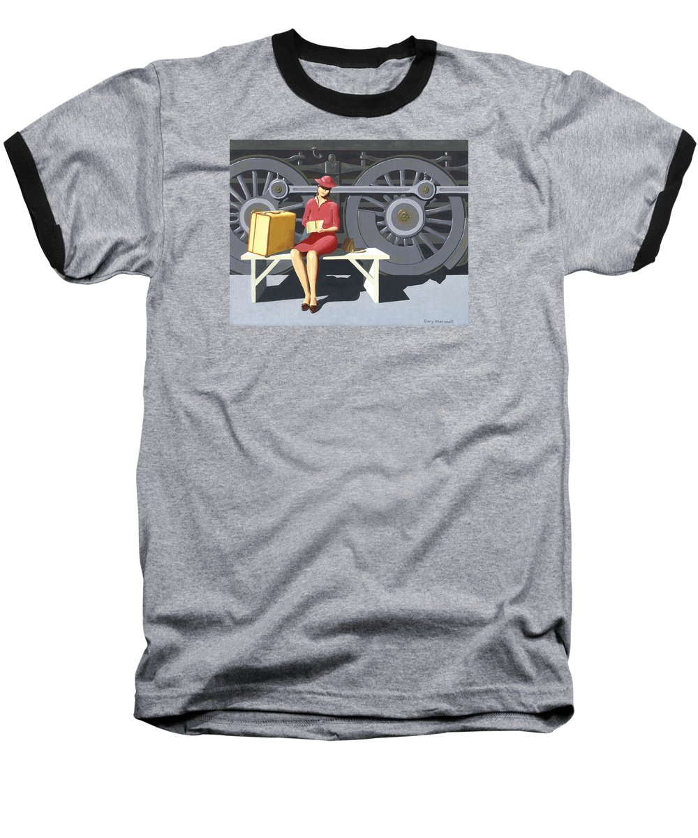 Woman Baseball T-Shirt featuring the painting Woman With Locomotive by Gary Giacomelli