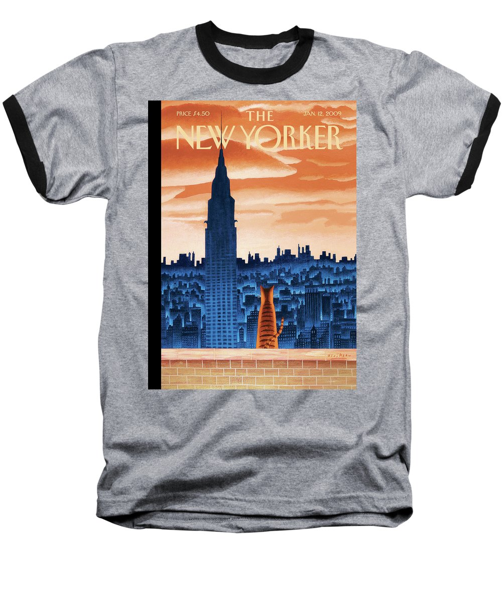 Nyc Baseball T-Shirt featuring the painting New Yorker January 12th, 2009 by Mark Ulriksen