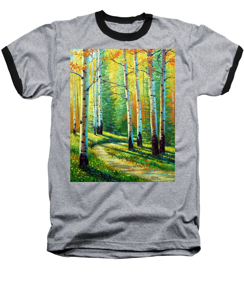 Landscape Baseball T-Shirt featuring the painting Colors Of The Season by David G Paul