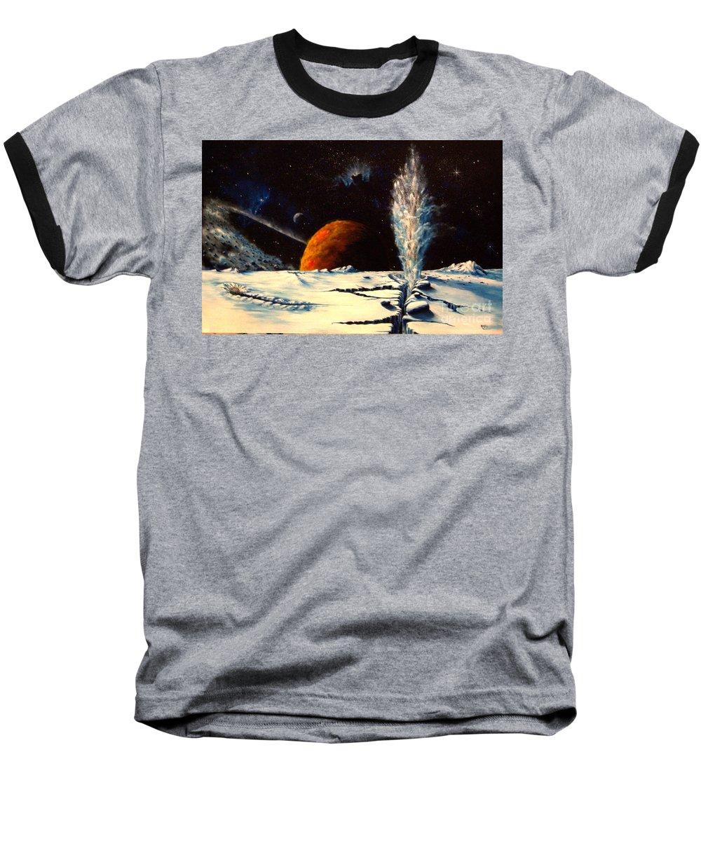 Landscape. Geyser Baseball T-Shirt featuring the painting Frozen Geyser by Murphy Elliott