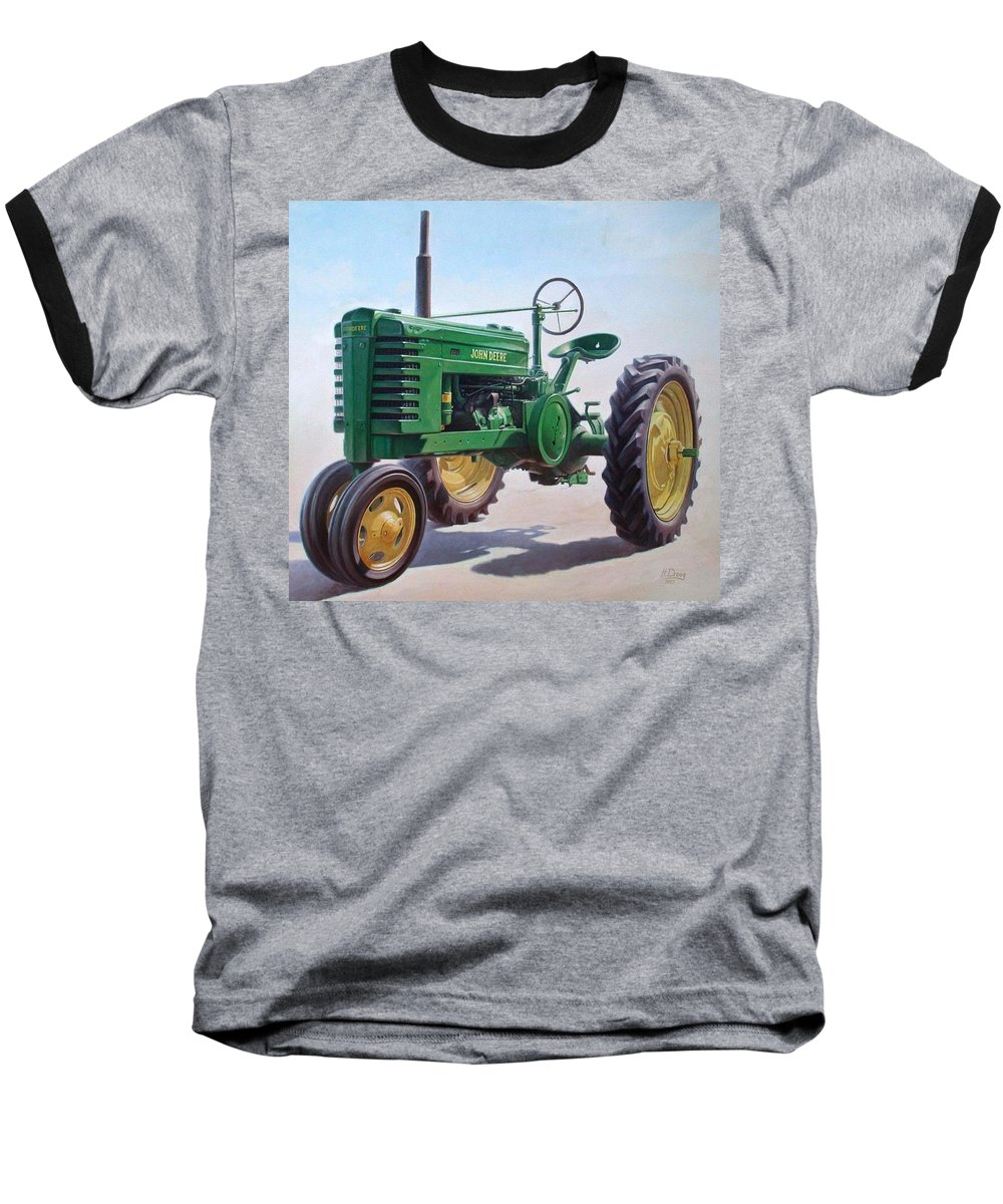 Tractor Baseball T-Shirt featuring the painting John Deere Tractor by Hans Droog