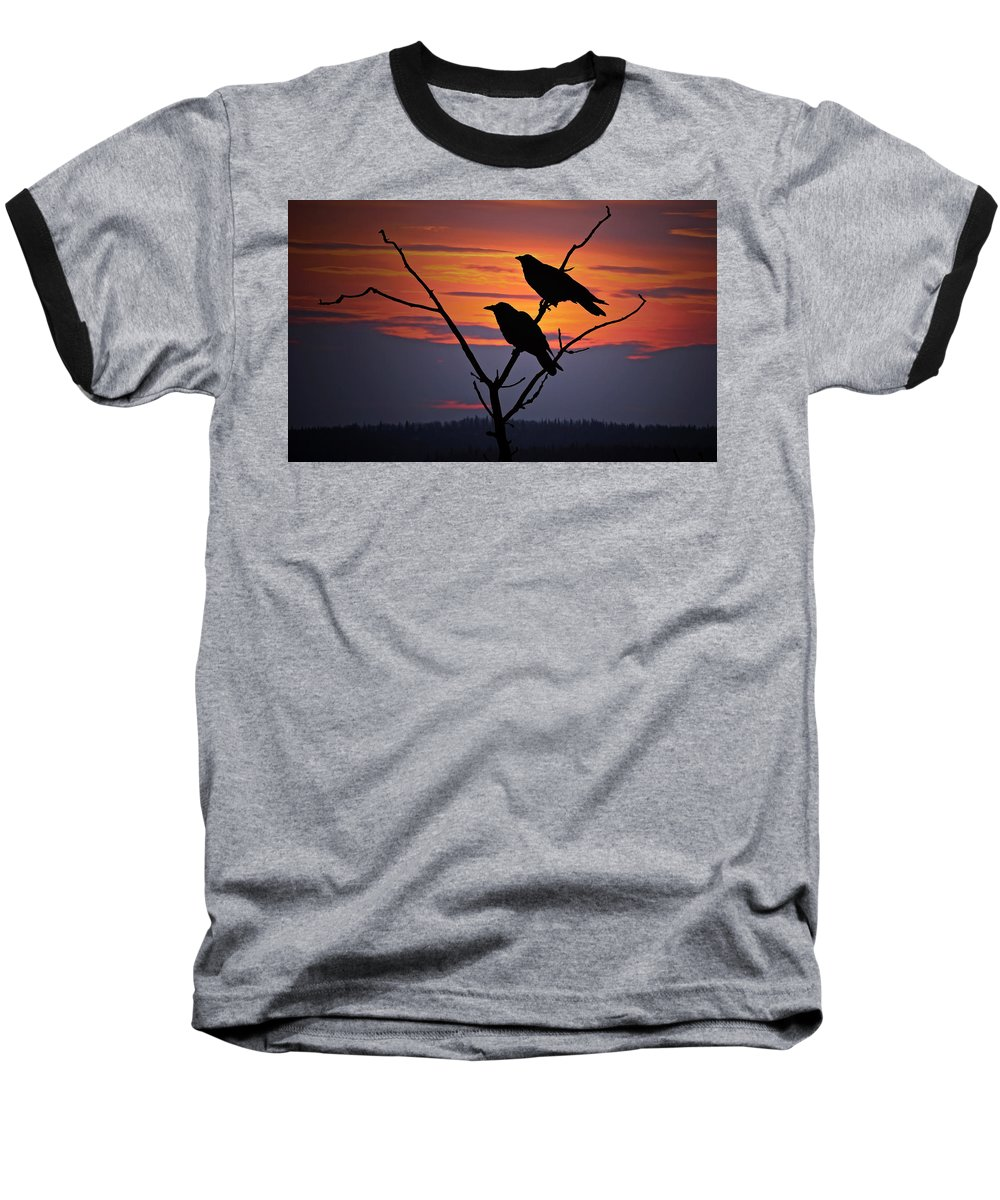 Raven Baseball T-Shirt featuring the photograph 2 Ravens by Ron Day