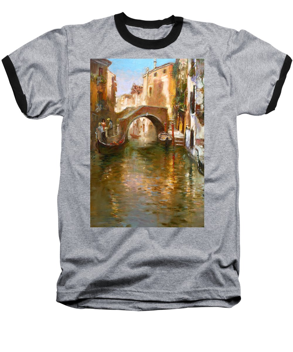 Romance Baseball T-Shirt featuring the painting Romance In Venice 2 by Ylli Haruni