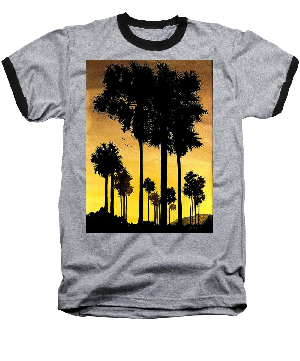 San Diego Sunset Baseball T-Shirt featuring the painting San Diego Sunset by Larry Lehman