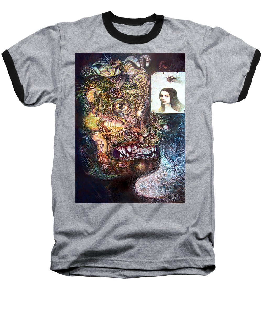 Mythology Baseball T-Shirt featuring the painting The Beast Of Babylon by Otto Rapp