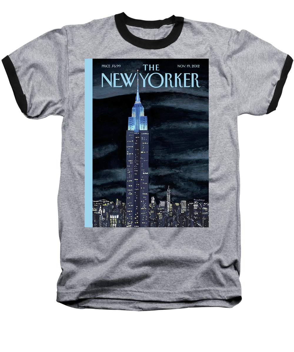 New York City Baseball T-Shirt featuring the painting New Yorker November 19th, 2012 by Mark Ulriksen
