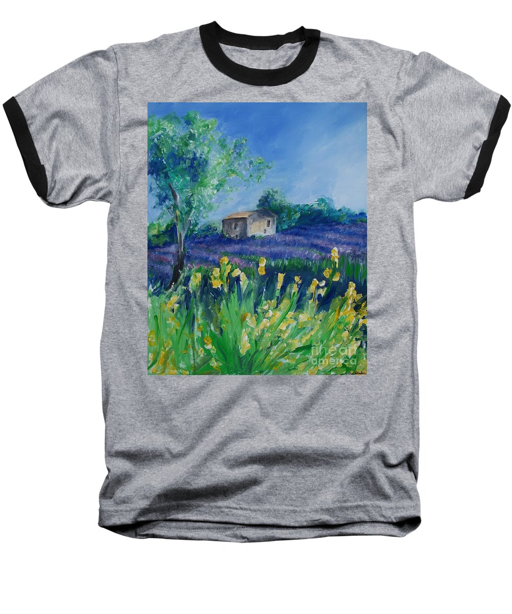 Provence Baseball T-Shirt featuring the painting Provence Lavender Field by Eric Schiabor
