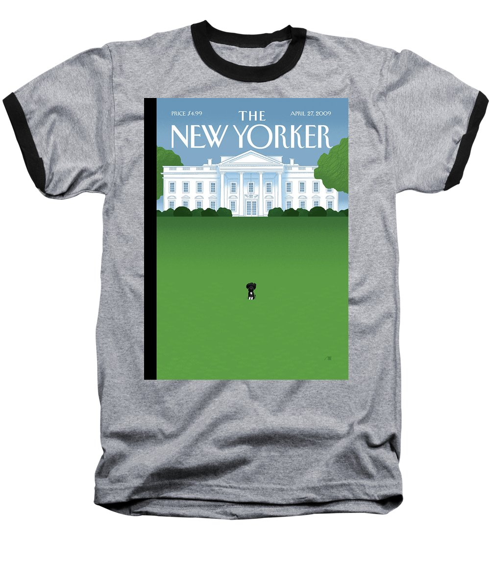 Obama Baseball T-Shirt featuring the painting New Yorker April 27th, 2009 by Bob Staake