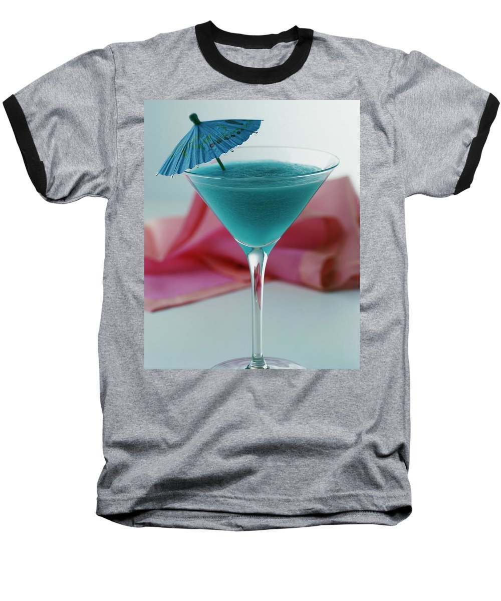 Beverage Baseball T-Shirt featuring the photograph A Blue Hawaiian Cocktail by Romulo Yanes