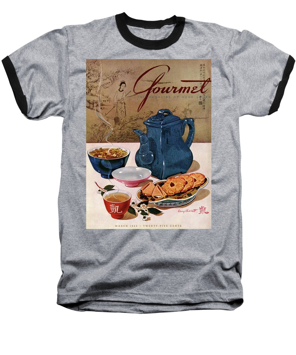 Food Baseball T-Shirt featuring the photograph A Chinese Tea Pot With Tea And Cookies by Henry Stahlhut