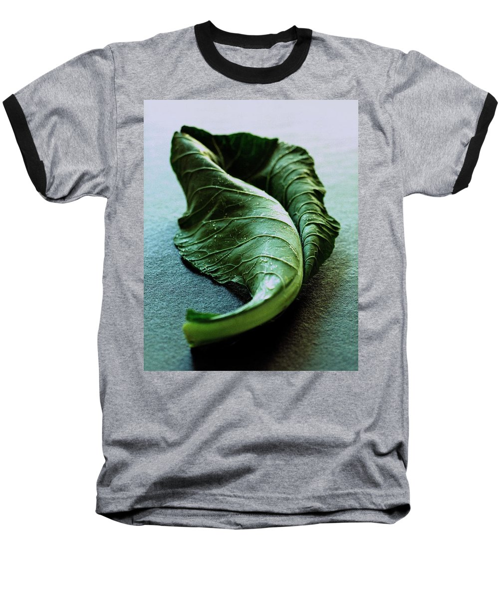 Nobody Baseball T-Shirt featuring the photograph A Collard Leaf by Romulo Yanes