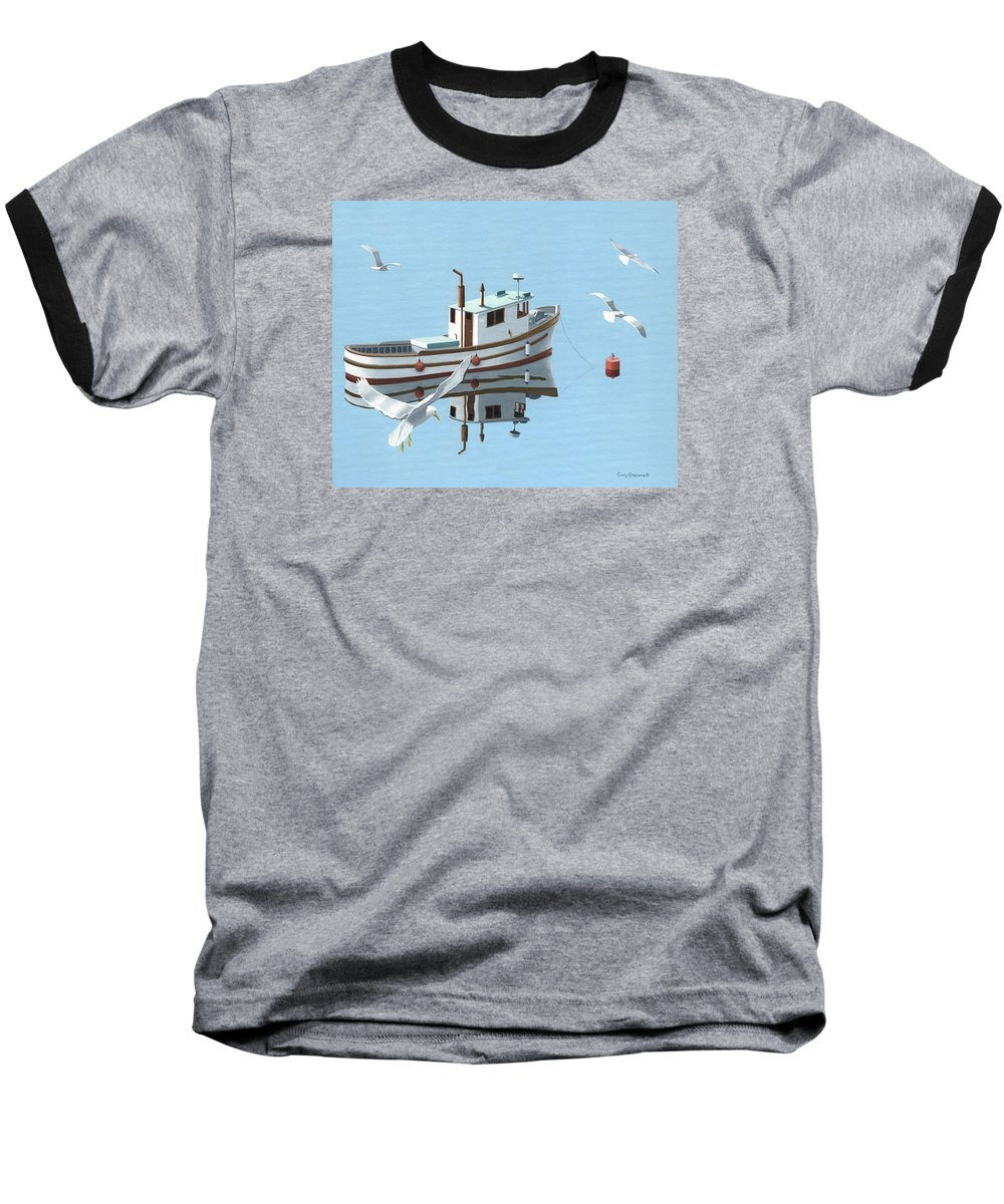 Boat Baseball T-Shirt featuring the painting A Contemplation Of Seagulls by Gary Giacomelli