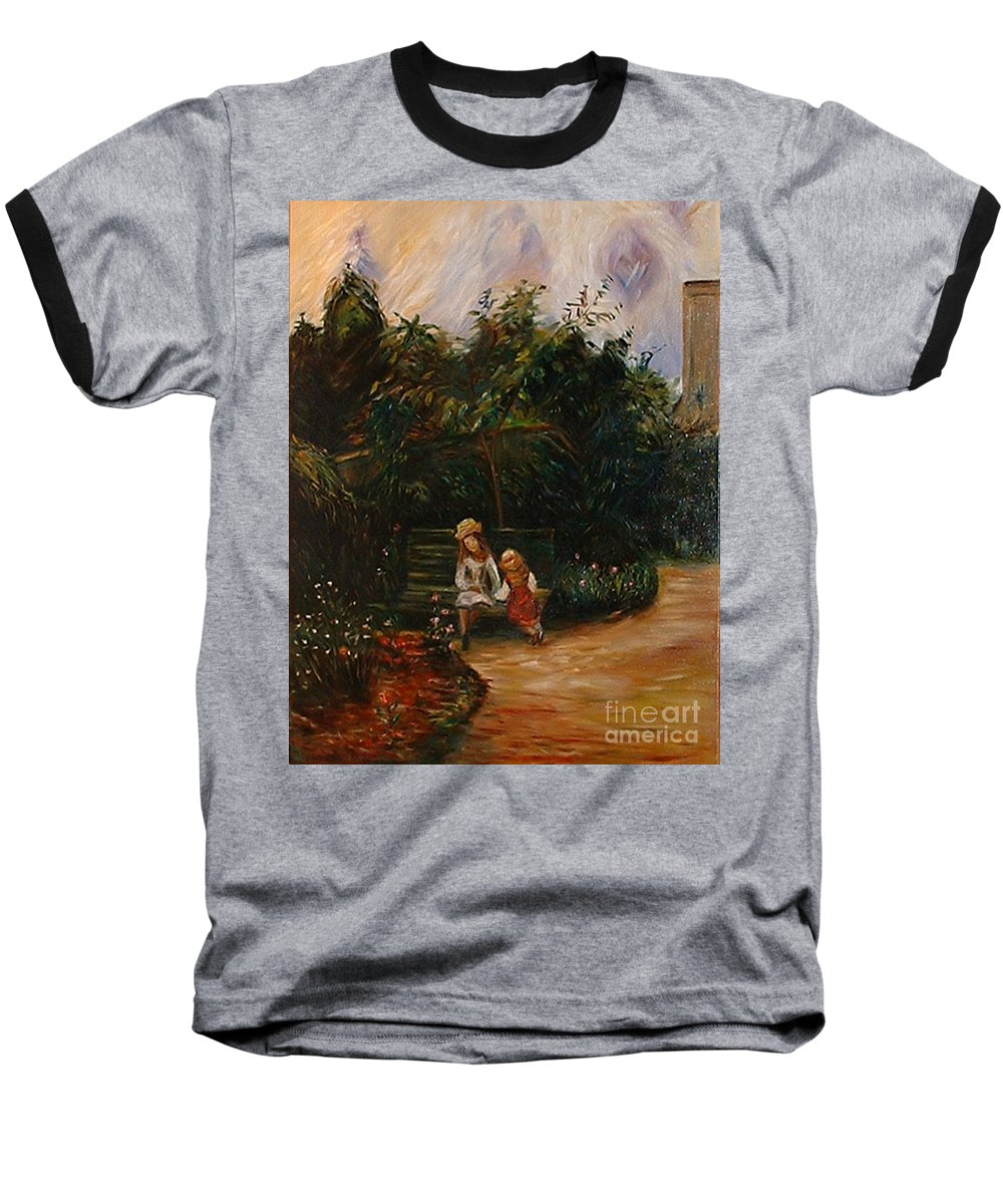 Classic Art Baseball T-Shirt featuring the painting A Corner Of The Garden At The Hermitage by Silvana Abel