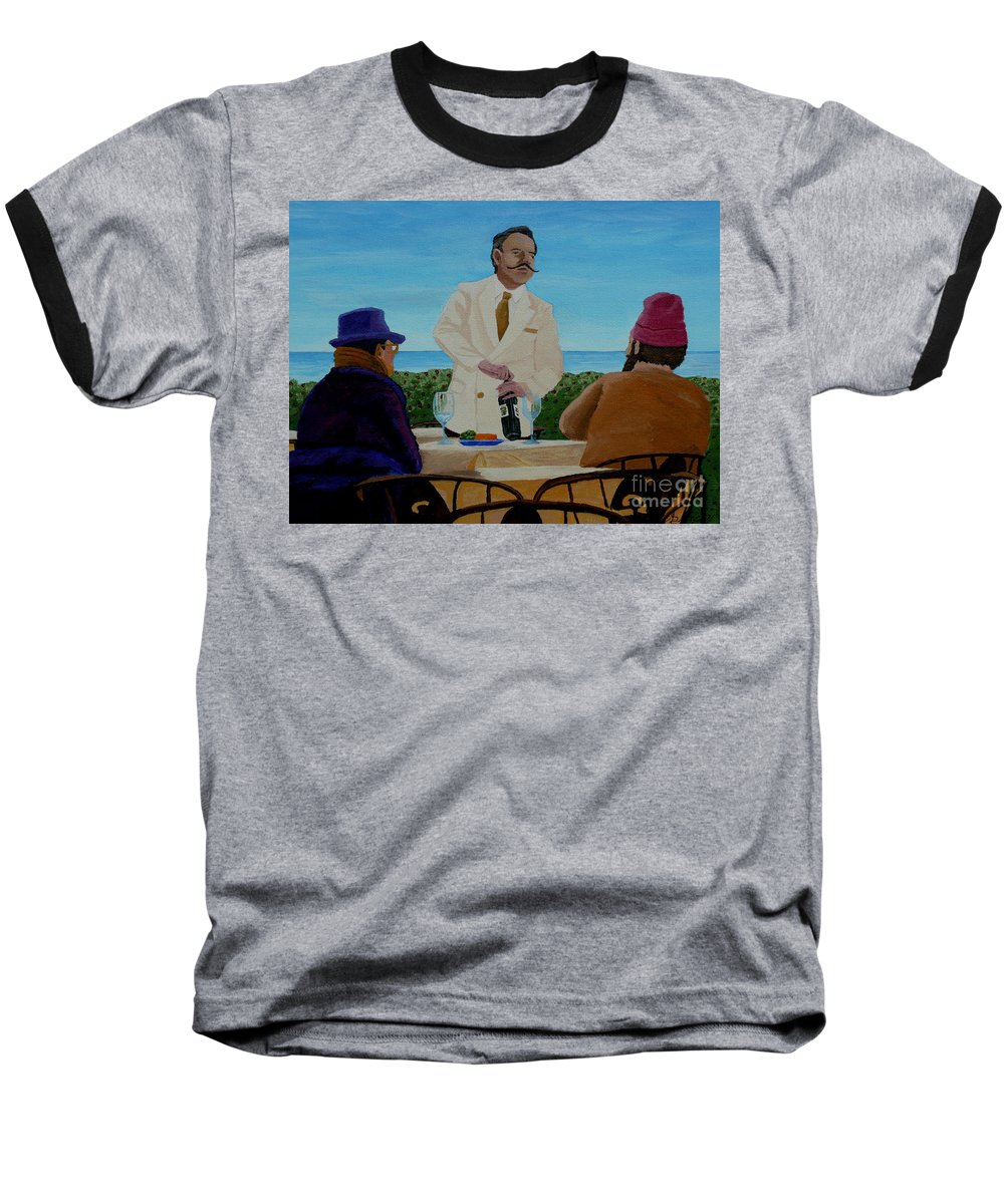 Wine Baseball T-Shirt featuring the painting A Fresh Bottle by Anthony Dunphy