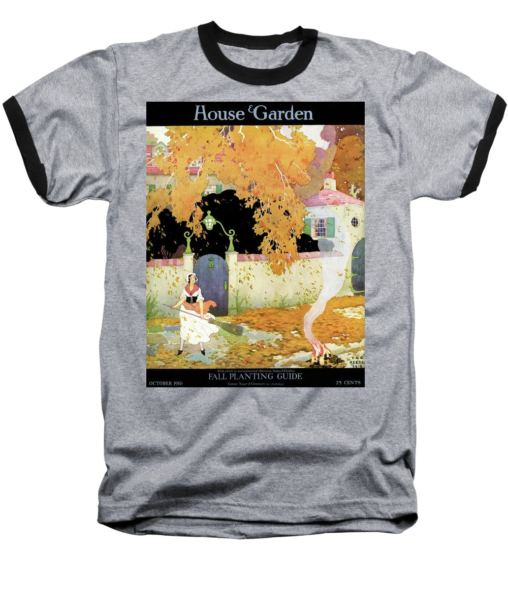 House And Garden Baseball T-Shirt featuring the photograph A Girl Sweeping Leaves by The Reeses