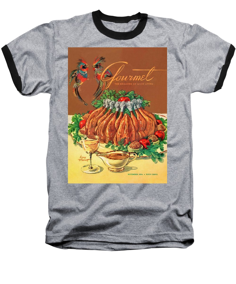 Food Baseball T-Shirt featuring the photograph A Gourmet Cover Of Chicken by Henry Stahlhut