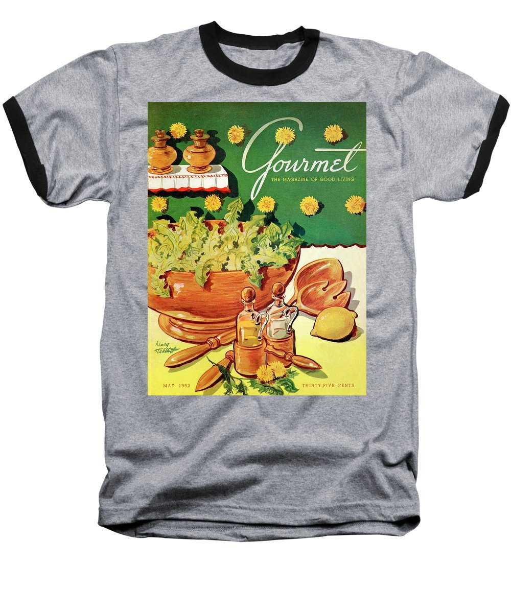Food Baseball T-Shirt featuring the photograph A Gourmet Cover Of Dandelion Salad by Henry Stahlhut