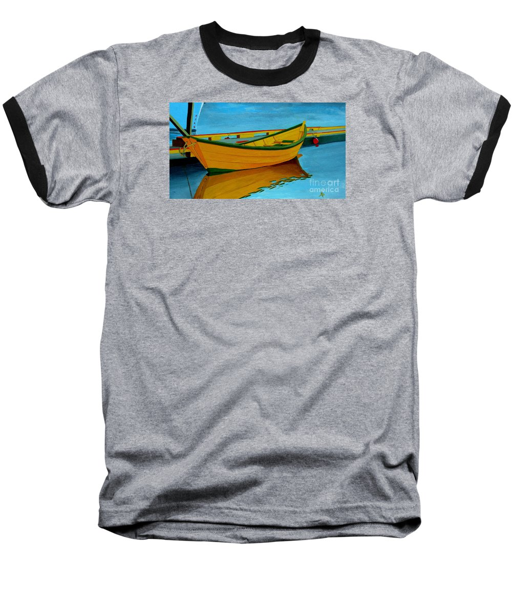 Grand Banks Baseball T-Shirt featuring the painting A Grand Banks Dory by Anthony Dunphy