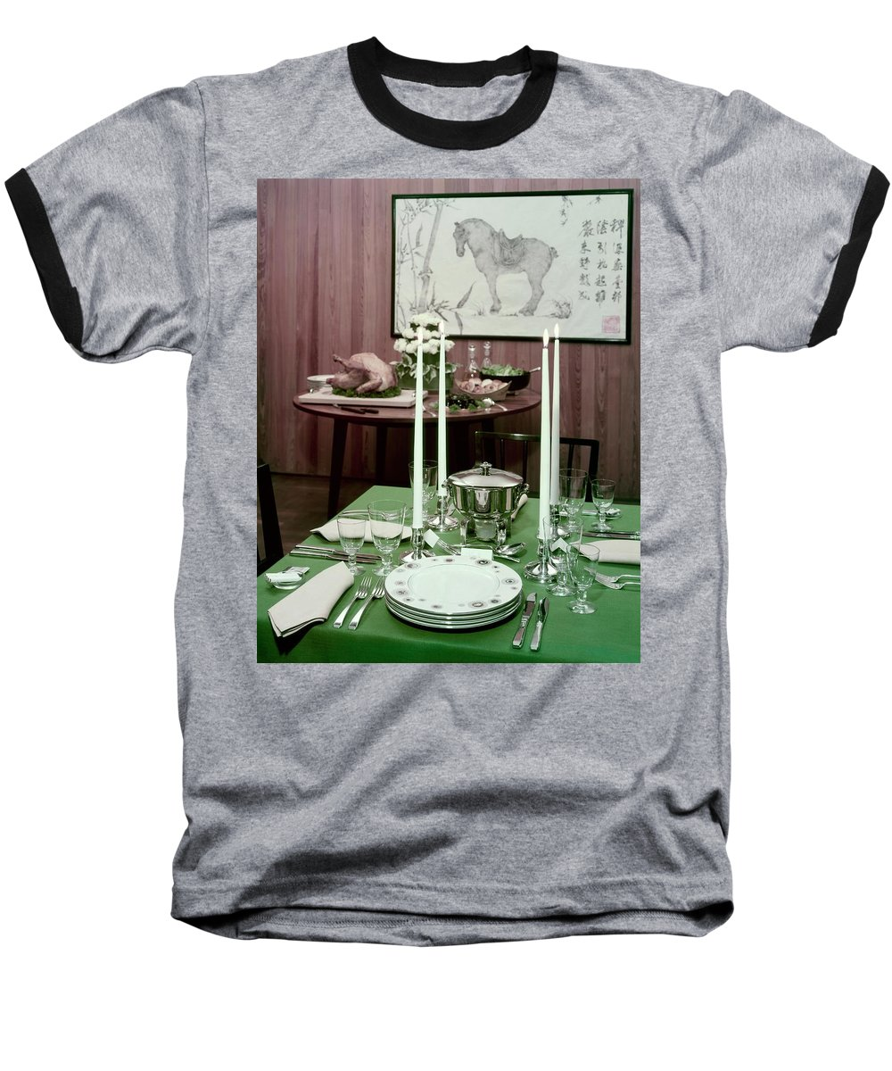 Indoors Baseball T-Shirt featuring the photograph A Green Table by Wiliam Grigsby