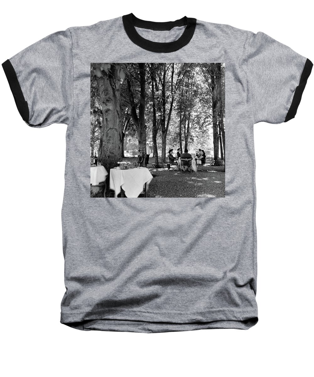 Food Baseball T-Shirt featuring the photograph A Group Of People Eating Lunch Under Trees by Luis Lemus