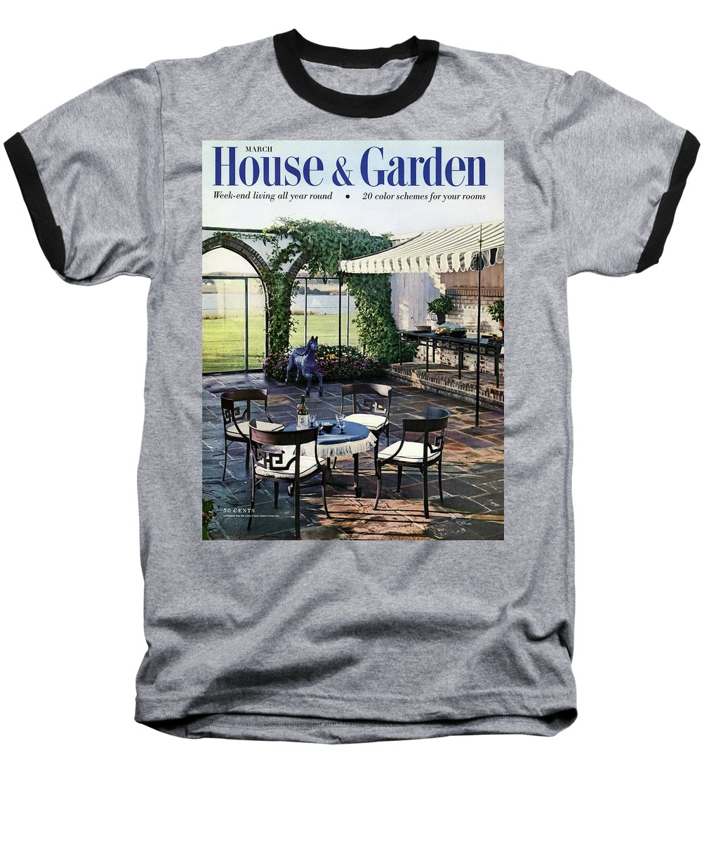 Magazine Baseball T-Shirt featuring the photograph A House And Garden Cover Of A Terrace In East by Wiliam Grigsby