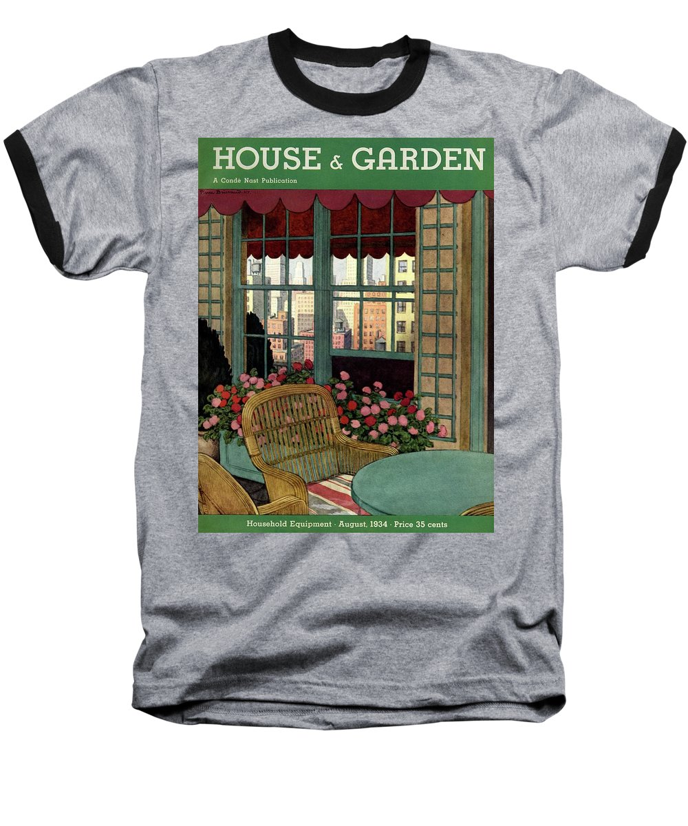 Illustration Baseball T-Shirt featuring the photograph A House And Garden Cover Of A Wicker Chair by Pierre Brissaud