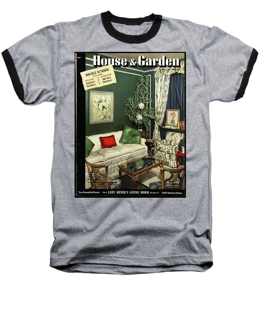 Home Accessories Baseball T-Shirt featuring the photograph A House And Garden Cover Of Lady Mendl's Sitting by Urban Weis