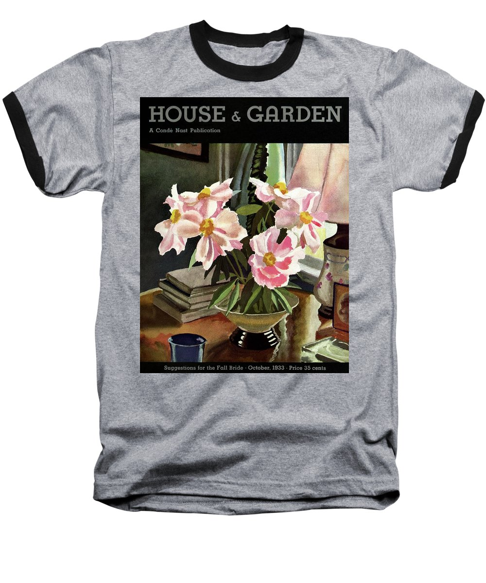 Illustration Baseball T-Shirt featuring the photograph A House And Garden Cover Of Rhododendrons by David Payne