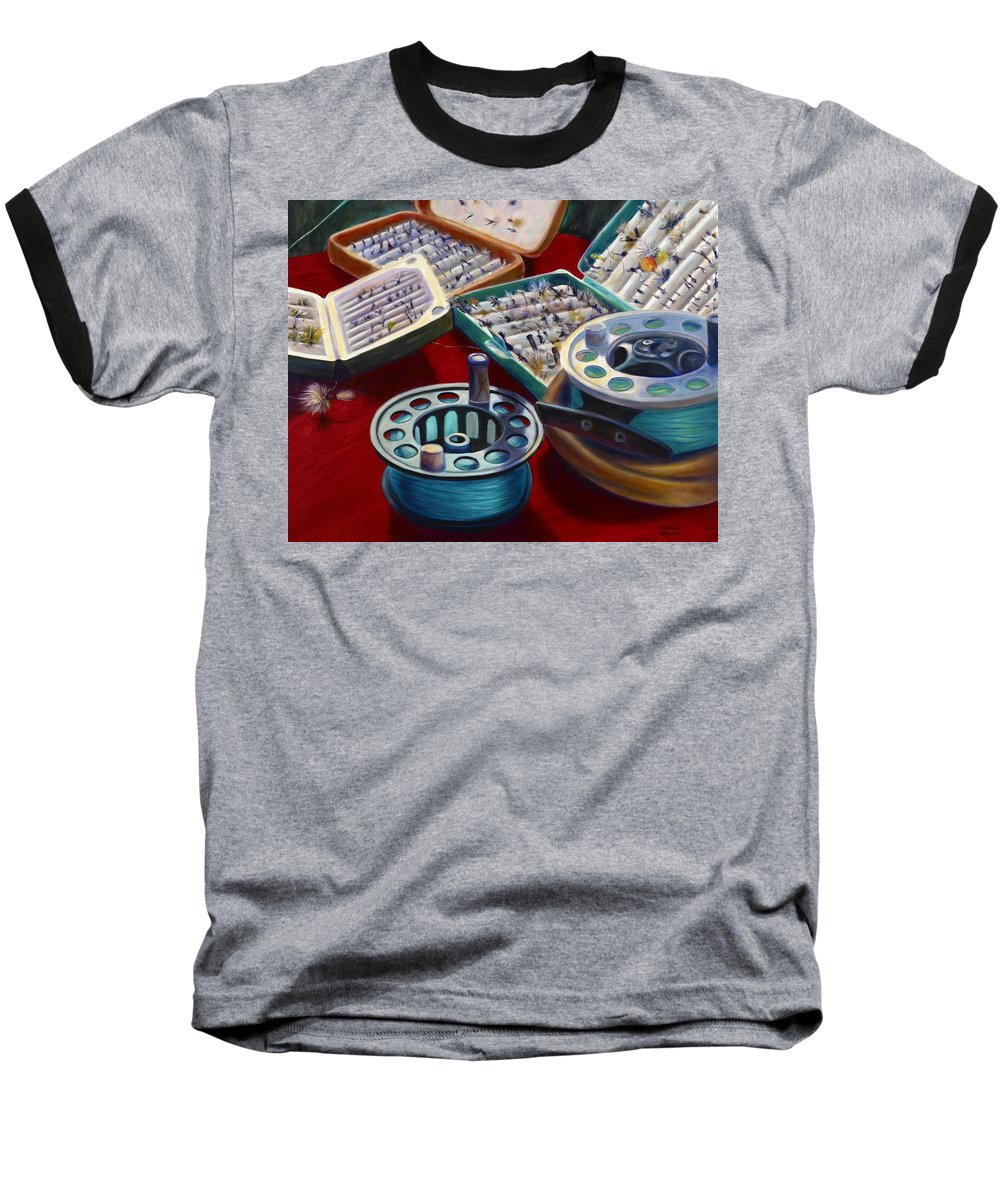 Still Life Baseball T-Shirt featuring the painting A Howard Runs Through It by Shannon Grissom