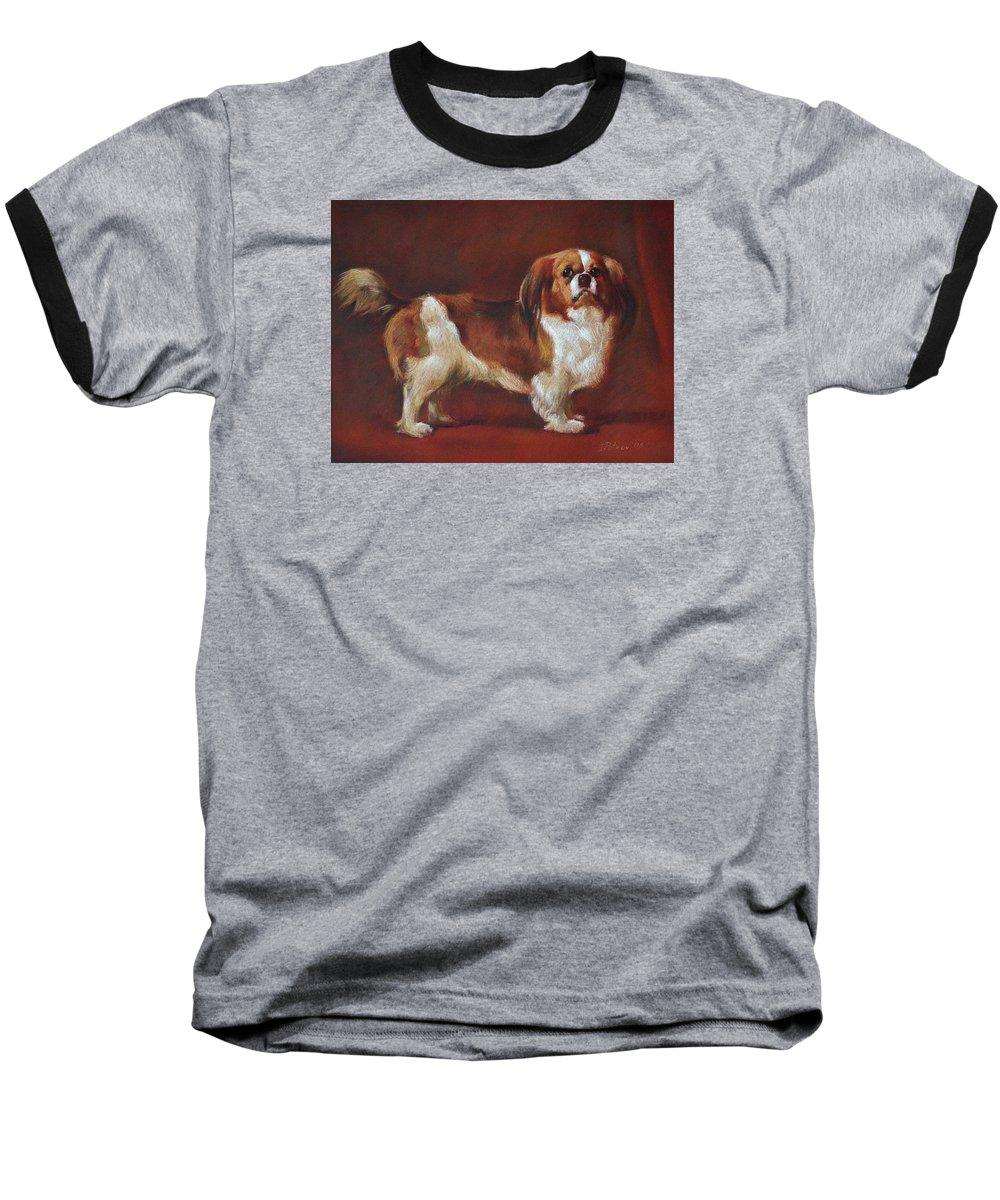 Pastel Baseball T-Shirt featuring the painting A King Charles Spaniel by Iliyan Bozhanov