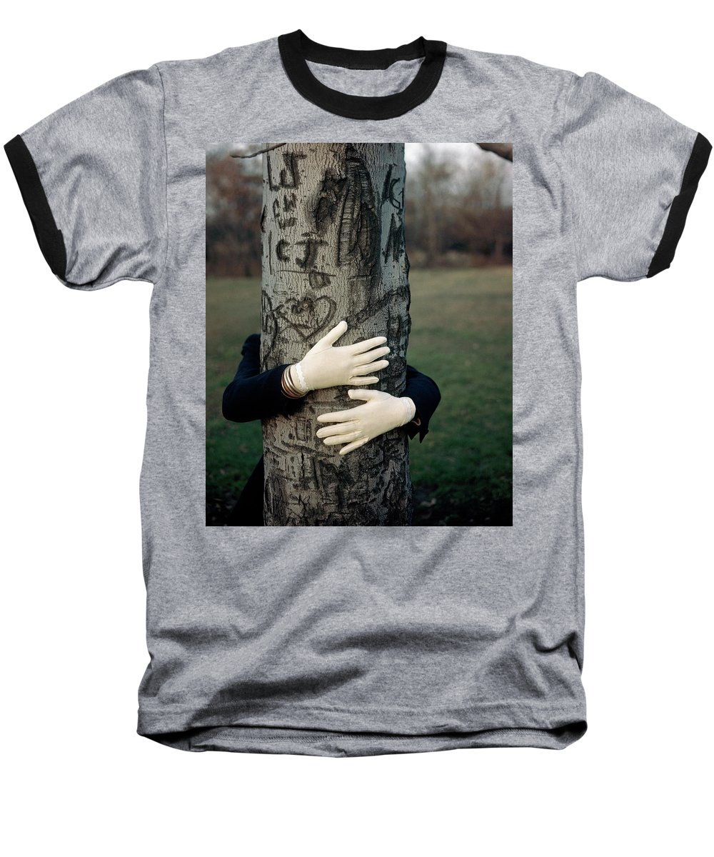 Fashion Baseball T-Shirt featuring the photograph A Model Hugging A Tree by Frances Mclaughlin-Gill