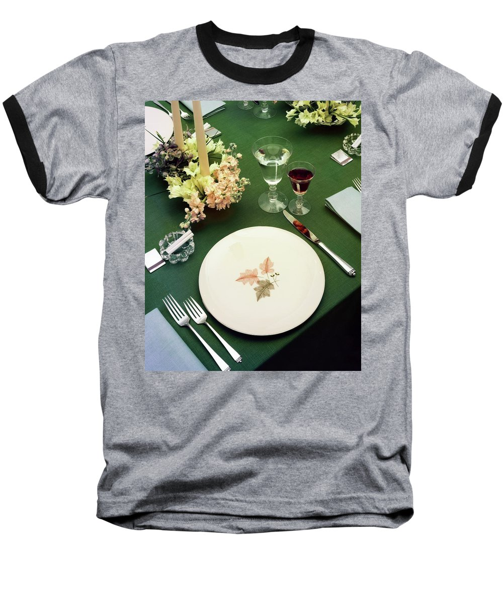 Nobody Baseball T-Shirt featuring the photograph A Table Setting On A Green Tablecloth by Haanel Cassidy