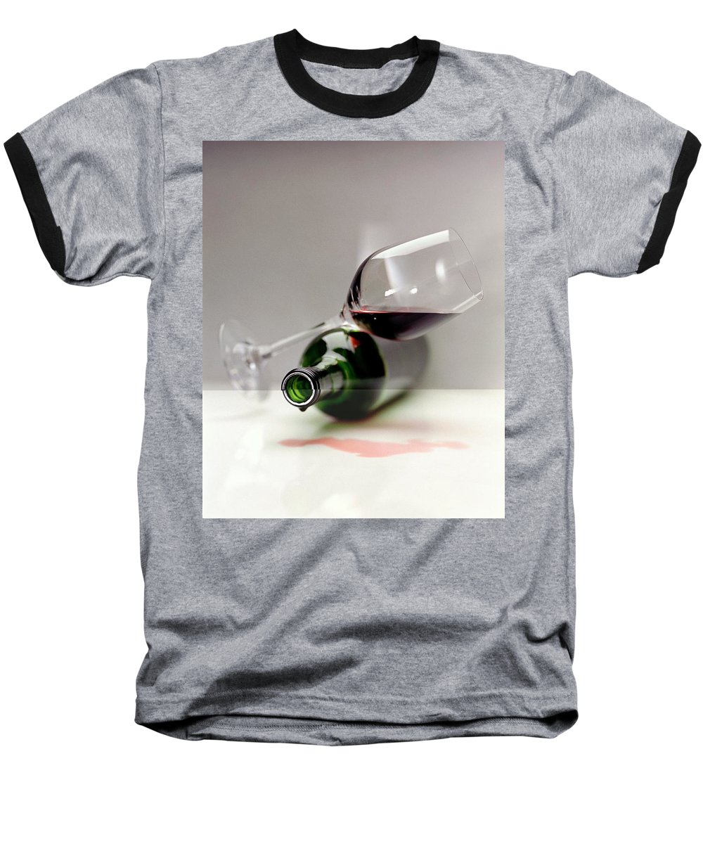 Beverage Baseball T-Shirt featuring the photograph A Wine Bottle And A Glass Of Wine by Romulo Yanes