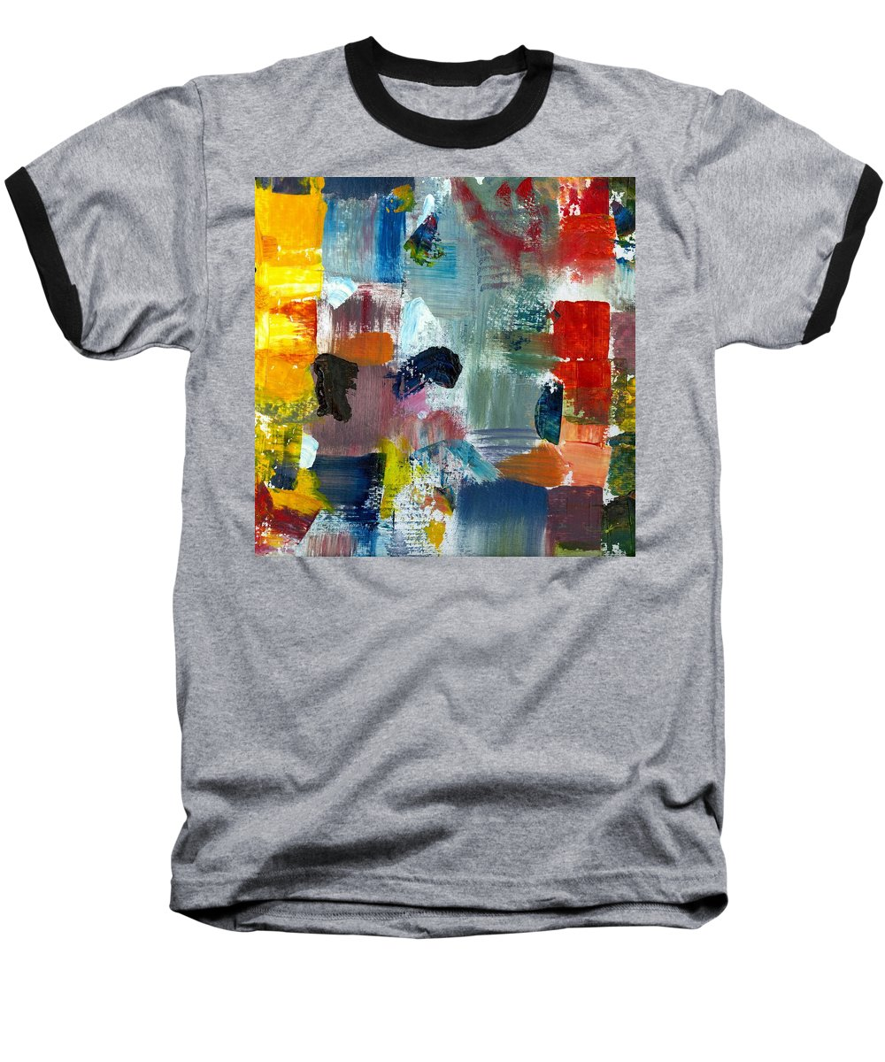 Abstract Collage Baseball T-Shirt featuring the painting Abstract Color Relationships lV by Michelle Calkins