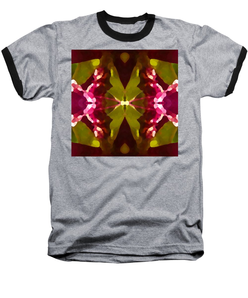 Contemporary Baseball T-Shirt featuring the painting Abstract Crystal Butterfly by Amy Vangsgard