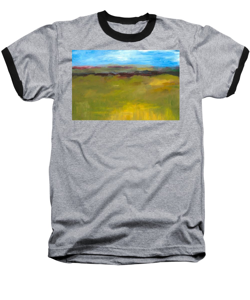 Abstract Expressionism Baseball T-Shirt featuring the painting Abstract Landscape - The Highway Series by Michelle Calkins