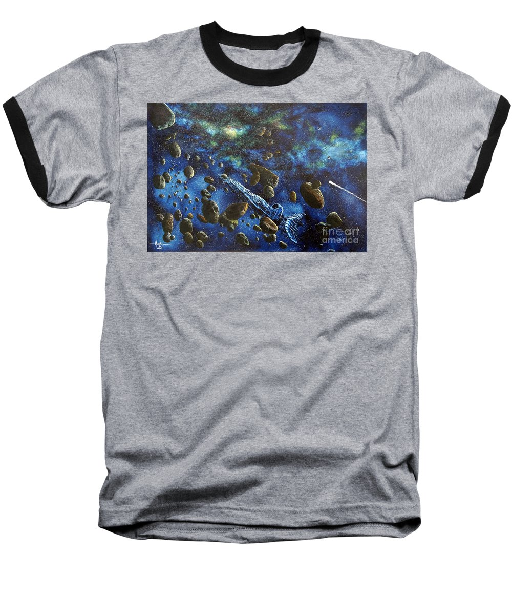 Astro Baseball T-Shirt featuring the painting Accidental Asteroid by Murphy Elliott