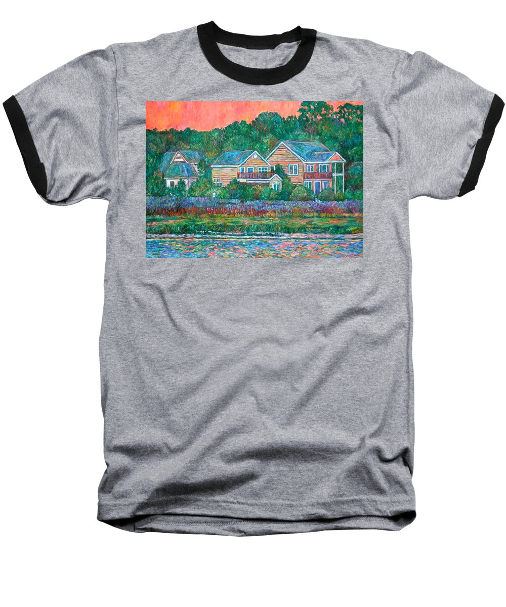 Landscape Baseball T-Shirt featuring the painting Across The Marsh At Pawleys Island    by Kendall Kessler