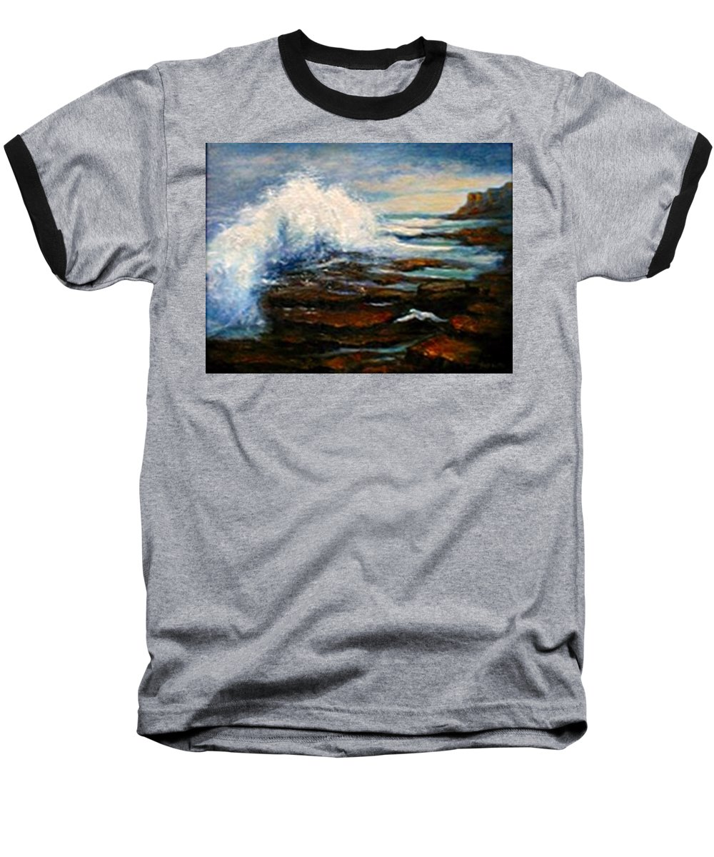 Seascape Baseball T-Shirt featuring the painting After The Storm by Gail Kirtz