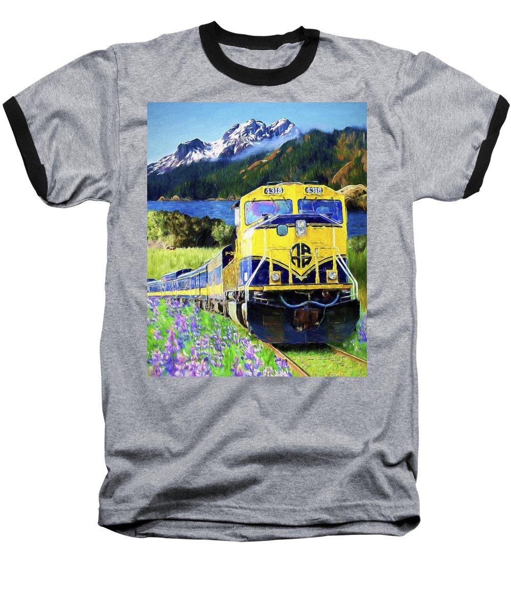 Railroad Baseball T-Shirt featuring the painting Alaska Railroad by David Wagner
