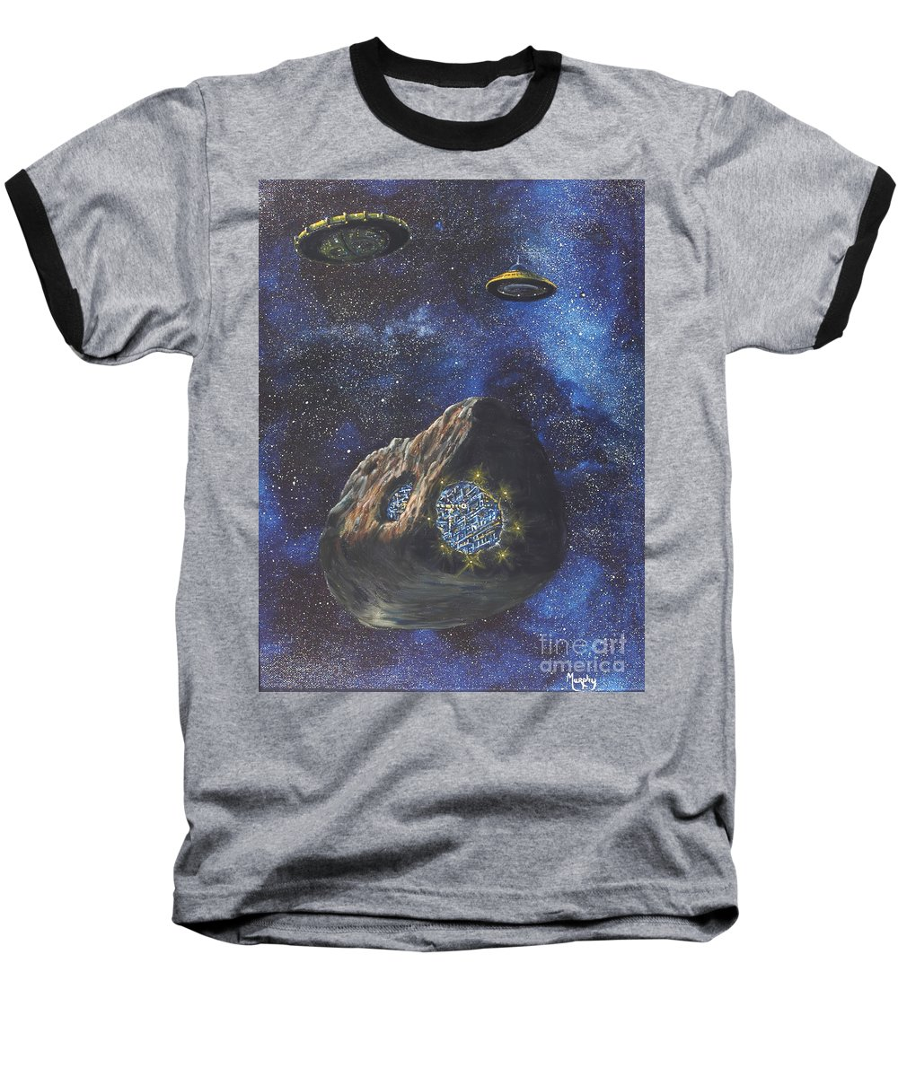 Painting Baseball T-Shirt featuring the painting Alien Space Factory by Murphy Elliott