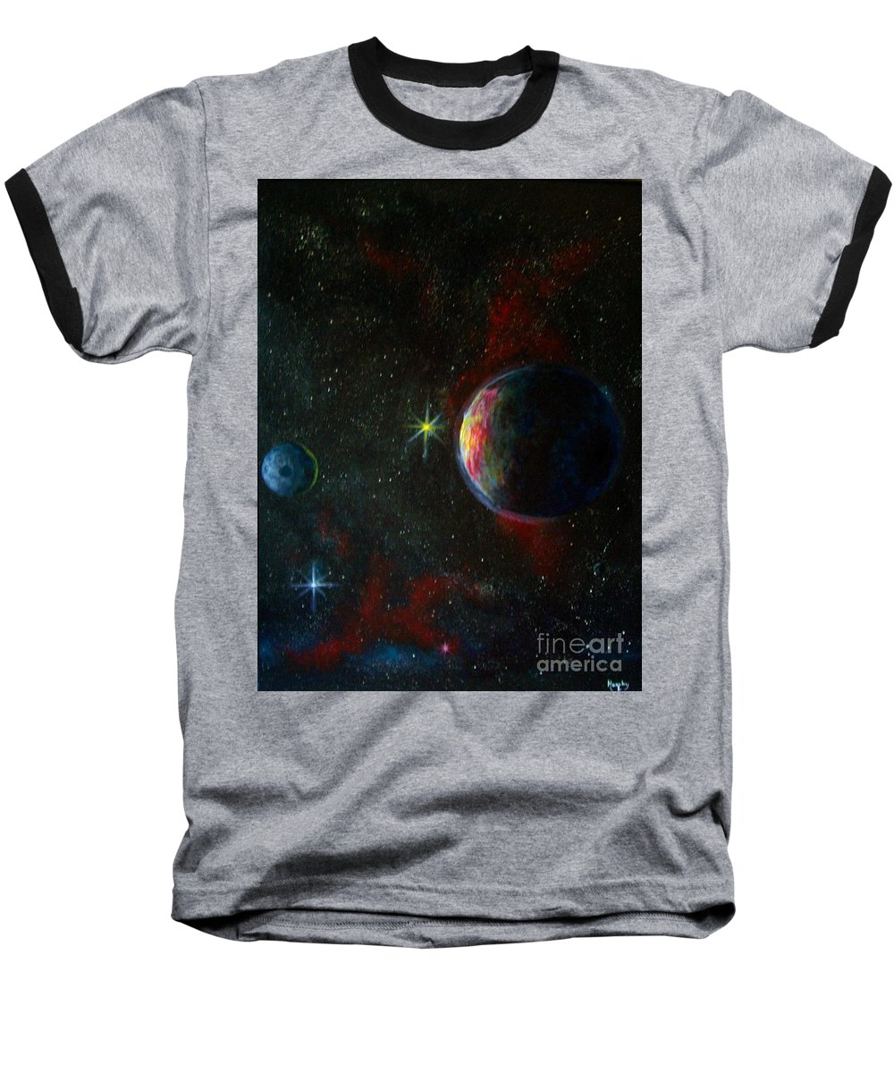 Cosmos Baseball T-Shirt featuring the painting Alien Worlds by Murphy Elliott