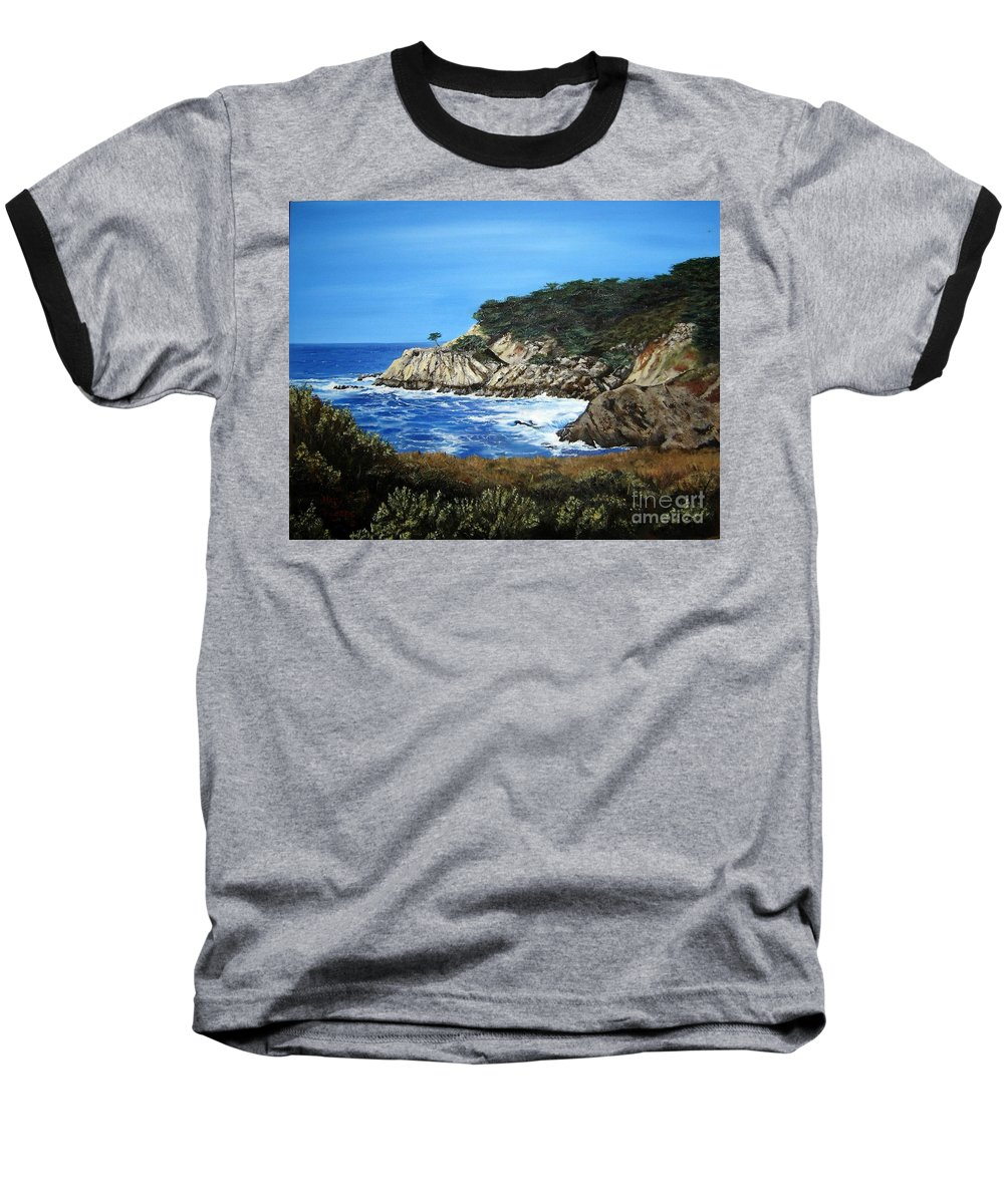 Landscape Baseball T-Shirt featuring the painting Along The California Coast by Mary Rogers