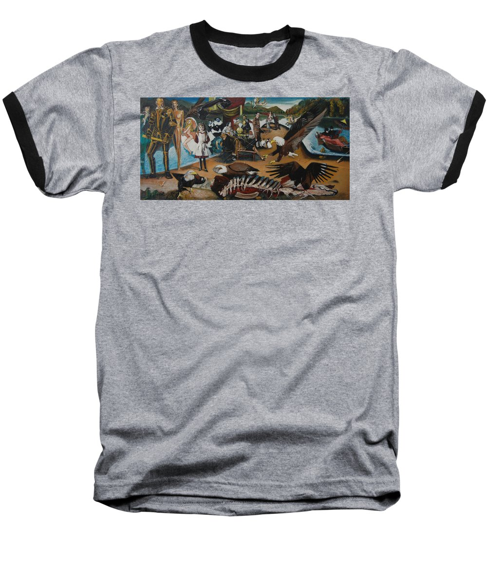 Unfinished Baseball T-Shirt featuring the painting America The Beautiful by Jude Darrien