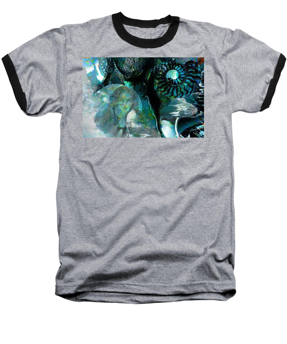 Ocean Baseball T-Shirt featuring the digital art Ammonite Seascape by Lisa Yount