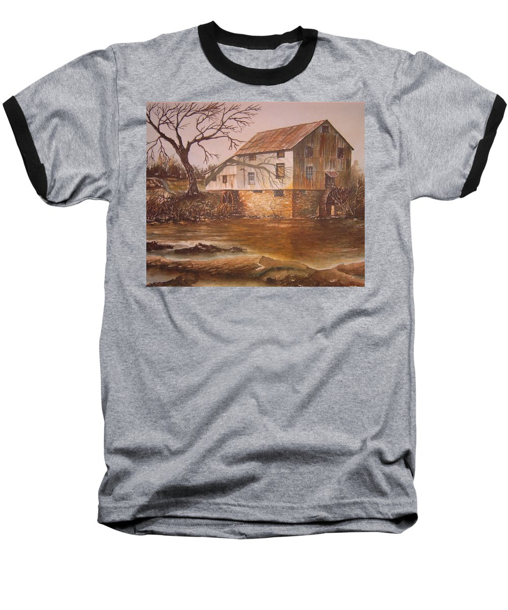 Landscape Baseball T-Shirt featuring the painting Anderson Mill by Ben Kiger