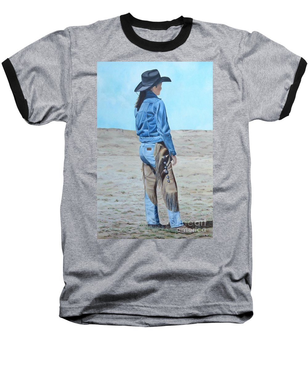 Ranch Baseball T-Shirt featuring the painting Anna After The Ride by Mary Rogers