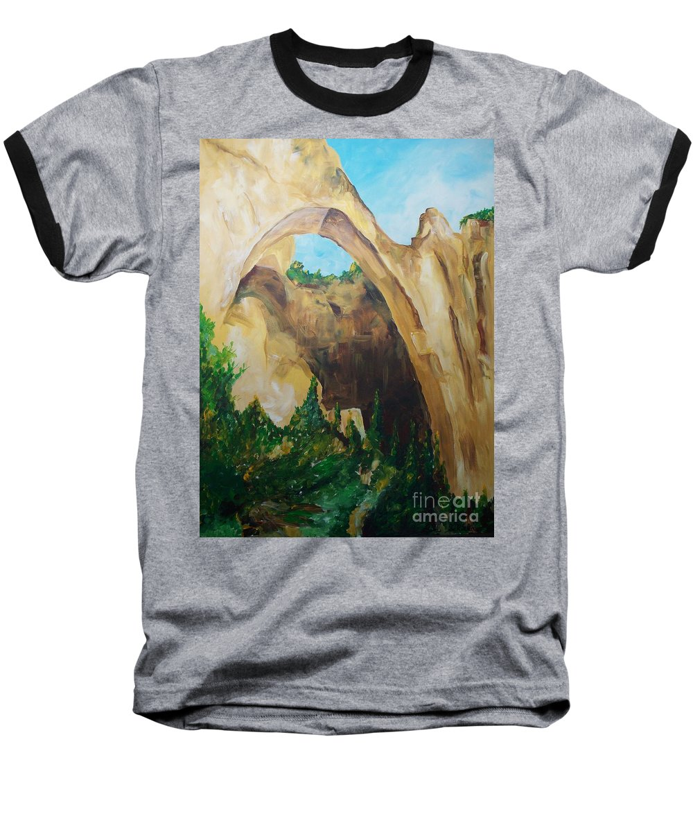 Floral Baseball T-Shirt featuring the painting Arch by Eric Schiabor